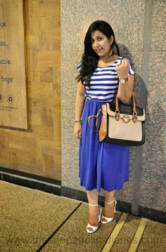The Shopaholic Diaries - Indian Fashion, Shopping and Lifestyle Blog !: OOTD | Striped Midi Dress - Color Block Bag #curvy