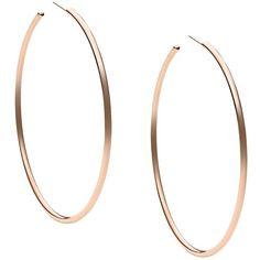 Michael Kors -Tone Hoop Earrings featuring polyvore, fashion, jewelry, earrings, accessories, rose gold, michael kors earrings, michael kors, lightweight earrings, polish jewelry and rose gold hoop earrings