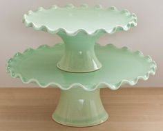 Ruffle Cake Stand Tier Set by vesselsandwares. IN LOVE!!!!!