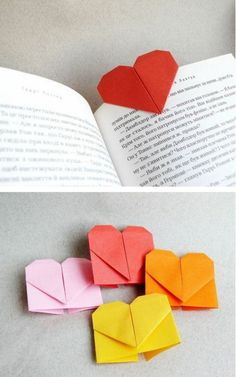 An Origami Heart Bookmark - This project is perfect for valentines day. Basically origami heart bookmarks will shout your love of reading to the world. Origami Diy, Origami Paper, Diy Paper, Paper Art, Paper Crafts, Heart Origami, Origami Things, Origami Lamp, Dollar Origami