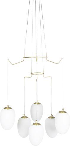 DIVINE Pendel 6 borstad mässing glas/metall B55 D55 6xG4 8W Chandelier, Ceiling Lights, Lighting, Home Decor, Metal, Corning Glass, Candelabra, Decoration Home, Room Decor