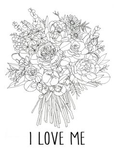 꽃다발업로드 Coloring Sheets, Coloring Books, Coloring Pages, Flower Drawing Tutorials, Drawing Practice, Line Drawing, Hand Embroidery Stitches, Embroidery Patterns, Flower Doodles