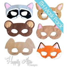Woodland Animals ITH Mask Embroidery Design Pack