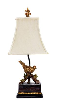 """Sterling Industries Perching Robin 20.5"""" H Table Lamp with Bell Shade"""