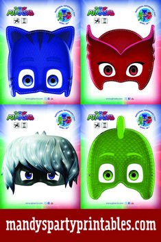 Get these PJ Masks party masks via Mandy's Party Printables via pjmasks.com! Owlette, Gecko, and Catboy, plus Night Ninja Romeo