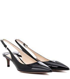 PRADA Patent Leather Slingback Pumps. #prada #shoes #pumps