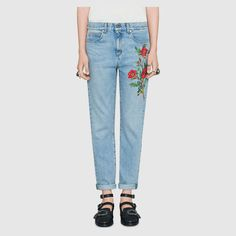 Gucci Embroidered denim pant Detail 3