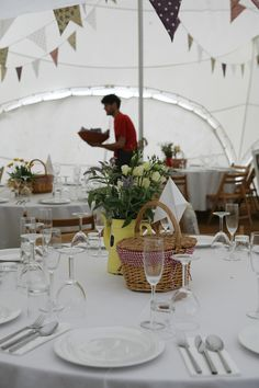 small picnic basket at each table with favors inside!!!