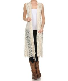 Look at this L & B Cream Crochet Vest - Women & Plus on #zulily today!