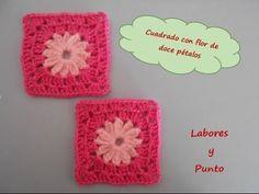 Aprende a tejer esta flor de doce petalos cuadrada-cuadrado patchwork 9 a ganchillo o crochet - YouTube