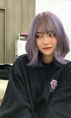 Girl With Purple Hair, Short Purple Hair, Girl Short Hair, Blue Hair, My Hairstyle, Cool Hairstyles, Hair Cute, Korean Short Hair, Cabello Hair