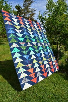Flying Geese quilt top using Cotton + Steel's Mesa Collection by Alexia Abegg