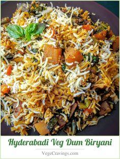 Biryani Recipe Hyderabadi Veg Dum Biryani Delicious and aromatic preparation of rice vegetables and Indian spicesDelicious and aromatic preparation of rice vegetables an. Tacos Vegan, Comida India, Indian Food Recipes, Ethnic Recipes, Recipe Steps, Mets, Rice Dishes, Veg Dishes, The Best