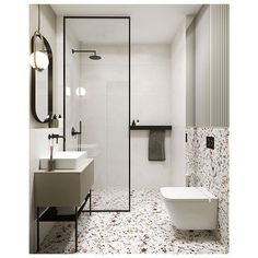 [eng👇🏻]Miałam to szc Modern Bathroom Design, Bathroom Interior Design, Home Interior, Terrazzo, Minimalist Bathroom, Beautiful Bathrooms, Bathroom Inspiration, Small Bathroom, House Design