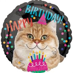The Cat Birthday Balloon features a cupcake and a cute kitty surrounded by colorful polka dots. This round foil balloon is an awesome addition to your cat-themed birthday party. Birthday Greeting Cards, Birthday Greetings, Birthday Wishes, Birthday Messages, Birthday Quotes, Happy Birthday Sister, Cat Birthday, Birthday Animals, Halloween Costume Shop