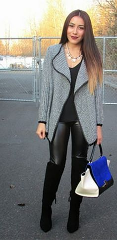 Black White Grey Gold Long Sleeve Zip Pocket Fleck Cardigan Sweater