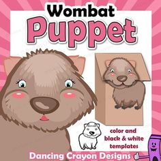 Wombat Puppet - printable paper bag puppet template. Fun craft project for kids. Make your own wombat puppet and put on a puppet show or play. Letter W in the Dancing Crayon Alphabet Animal Puppet range.