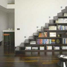 Use Under Stair as a Collection Book Shelves - Home Design ...