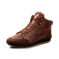 2016 Brand Designer High Top Men Casual Shoes Fashion PU Leather Ankle Boots Mix Color British Style Lace Up Warm Shoes Men