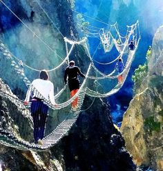 The Tibetan Bridge in Claviere, Piedmont, Italy. one of the most dangerous bridges on the world. Wow.