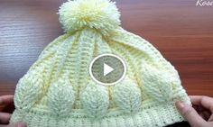 Gorro Con Hojas En Relieve Crochet+Video