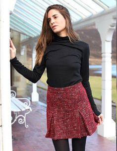 Fashion blogger Gala Gonzalez of Amlul wearing our Honor Polo Top and Janice Skirt!   http://relatedapparel.com/Honor-Polo-Neck-Top.aspx  http://relatedapparel.com/Janice-Skirt.aspx