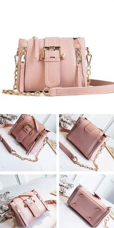 LeatherStyle:ElegantFashion Element:Single Buckle/Chain/Vertical ZipperCapacity:Can hold iphone/zipper pockets Leather Fashion, Pu Leather, My Bags, Messenger Bag, Zipper, Handbags, Wallet, Chain, Elegant