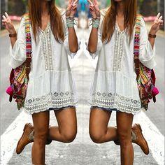 2017 Bohemian Style Women Summer White Dress Sexy Casual V Neck 3/4 Flare Sleeve Lace Crochet Loose Mini Beach Dresses Vestidos