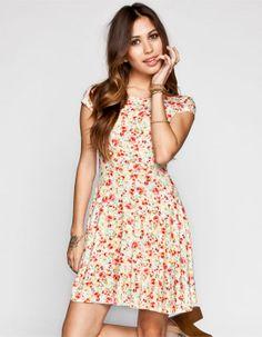 ANNIANNA Bright Floral Print Skater Dress 244438957 | Short Dresses | Tillys.com