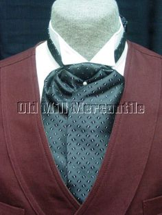 mens+grey+and+black+old+west+victorian+style+wedding+ascot+tie