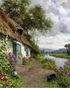 """Cottages: """"A Riverside #Cottage,"""" by Louis Aston Knight (1873-1948), signed."""