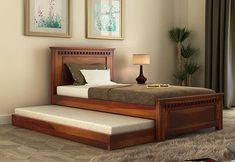 Kids Bed Design, Wood Bed Design, Bedroom Bed Design, Home Room Design, Home Decor Bedroom, Wooden Trundle Bed, Bunk Bed With Trundle, Single Beds With Storage, Bed Designs With Storage