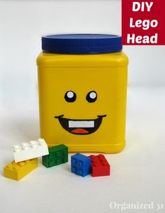 Make your own LEGO Head Storage Can from an upcycled plastic can.