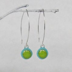 Fused Glass Earrings in turquoise and green by PamelaAngus on Etsy