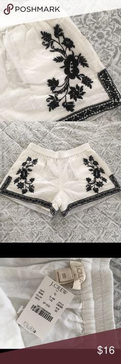 NWT Embroidered JCREW shorts Excellent condition! Beautiful embroidered detail. NWT. Has pockets! J. Crew Shorts