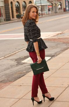 Penny Pincher Fashion: Frill Seeker. Love her peplum top in tweed paired with colored skinnies- so cute!