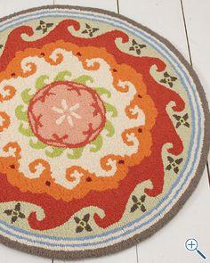 Garnet Hill Suzani Hooked Wool Rug