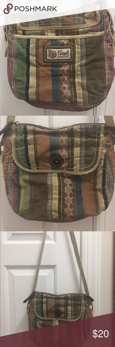 Fossil Modern Vintage Bohemian Crossbody Bag Fossil Modern Vintage Crossbody Bag, very Bohemian looking. It is used and a little tattered looking but that's the appealing look of his bag. Lots of little compartments for storing ID and cards. Check out other bags in my closet to bundle and save. Fossil Bags Crossbody Bags