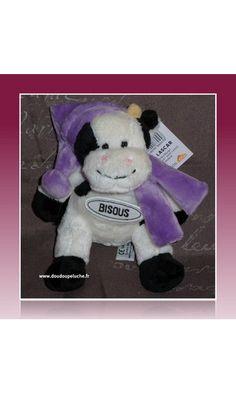 doudou vache lascar bisous blanc violet