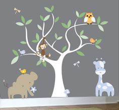 Vinyl wall decal jungle set white nursery tree by couturedecals, $129.00