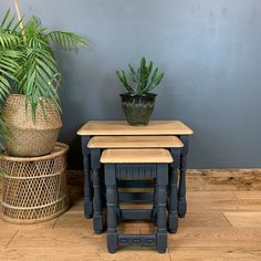 Jan 2020 - Vintage Oak Coffee Nest Of Tables Priory Retro Painted Upcycled Rustic Upcycled Furniture Before And After, Repurposed Furniture, Rustic Furniture, Painted Furniture, Upscale Furniture, Coffee Table Upcycle, Retro Coffee Tables, Painted Nesting Tables, Painted Coffee Tables