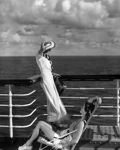 On the deck of the cruise ship liner Lurline, a photo by Edward Steichen for Vogue, 1934   first posted by   yesterdaysprint