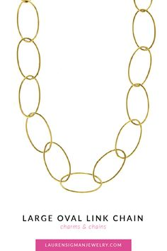 yellow Gold Large Oval Link and available Lobster Claw Clasp Jewelry Collection, Charmed, Chain, Link, Gold, Chain Drive, Yellow