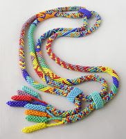 Native Stripes - Finished Necklaces - Love these crocheted ropes. Would like to buy this pattern and learn! Bead Crochet Patterns, Bead Crochet Rope, Beading Patterns, Beaded Crochet, Crochet Beaded Bracelets, Beaded Jewelry, Beaded Necklace, Jewellery, How To Make Beads