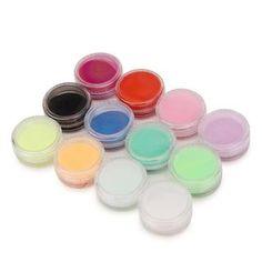 Nail Art 12 Colors Acrylic Powder Dust UV Gel Design 3D Tips Builder Decoration Manicure