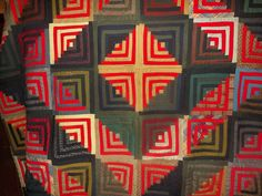 Amazing Log Cabin Sunshine and Shadow pattern. Wonderful use of red to give the quilt pop and personality. Overall a Superb quilt worthy of a place in a collection! The backing was really difficult to get the true color. | eBay!
