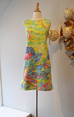 60s Dress // Vintage 1960's Sailing Watercolor by xtabayvintage, $78.00