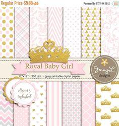 50% de corona Digital papeles y Clipart Royal por JennyLDesignsShop