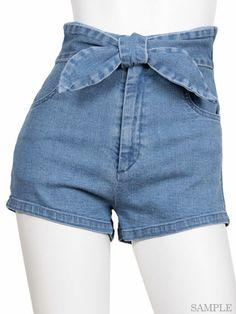 snidel (Sneijder), Shop | ribbon belt denim shorts (SAX)