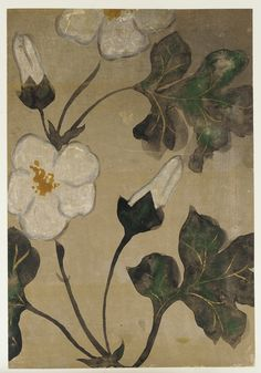 'Rose Mallow' (Edo period ). Ink, mineral pigments, and gold on clay-loaded paper by Ogata Kenzan (1663-1743).